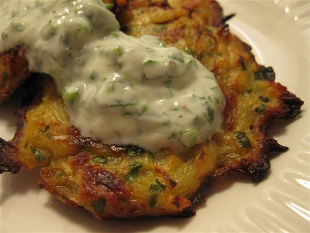 Caramelized Onion and Potato Latkes with Herb Yogurt