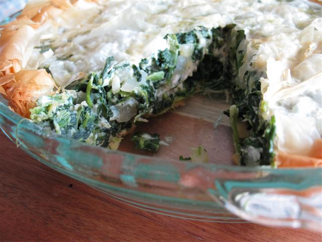 Spinach, Sweet Onion, and Feta Pie