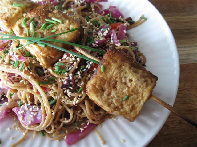 Baked Tofu Satay with Peanut-y Noodles