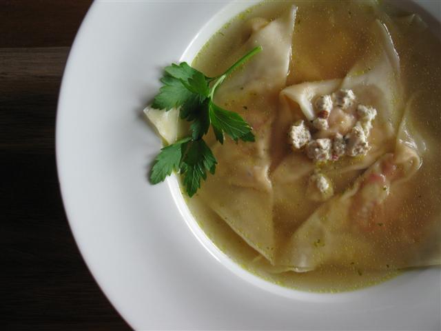 Roasted Vegetable Ravioli in Vegetable Broth