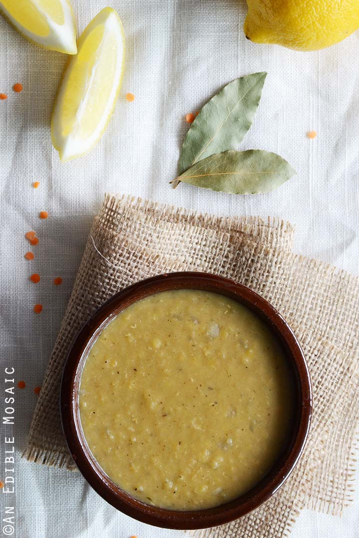 Lebanese Red Lentil Soup on White Tablecloth