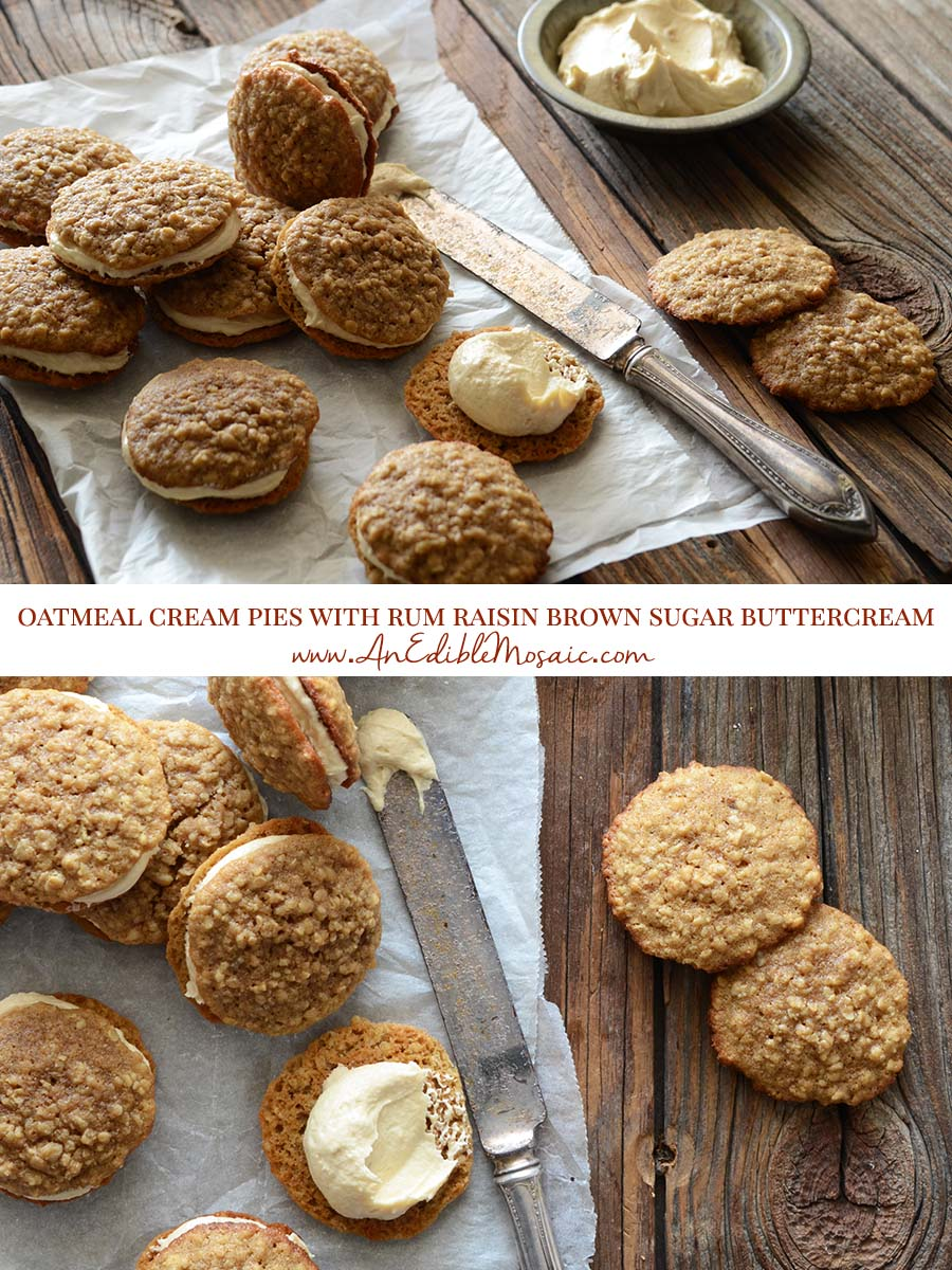Oatmeal Cream Pies with Rum Raisin Brown Sugar Buttercream Pin