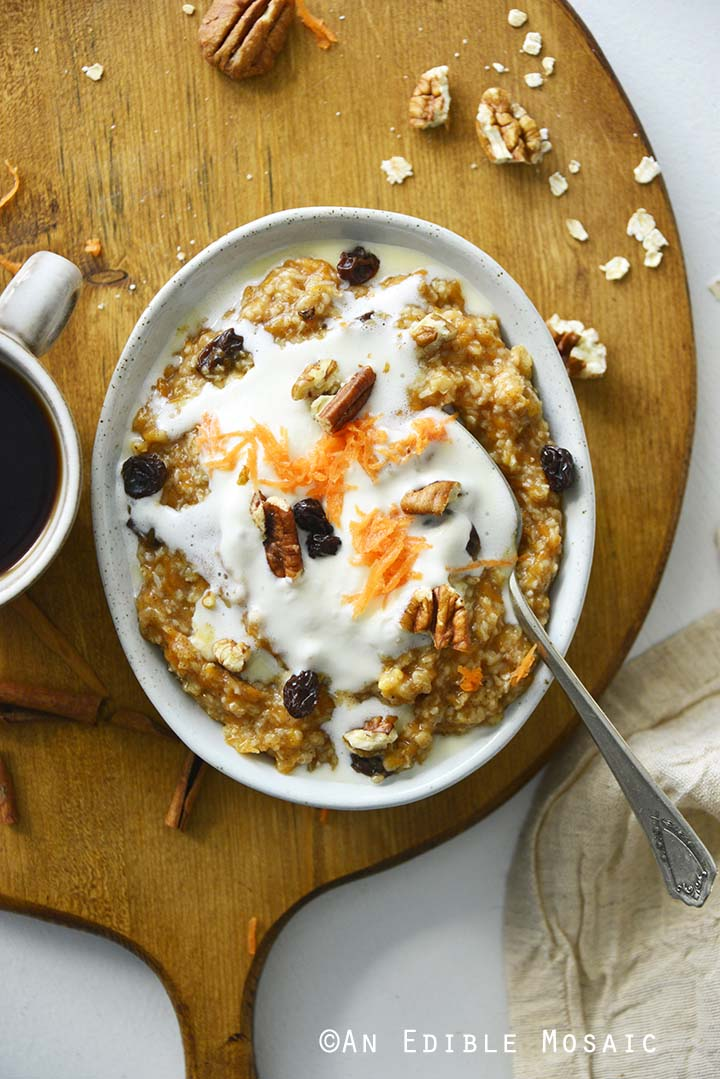 Carrot Cake Oatmeal with Cup of Coffee