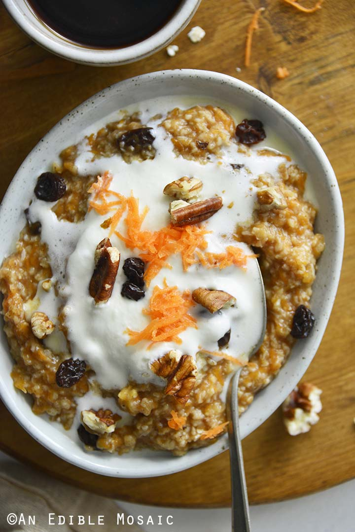 Close Up Overhead View of Carrot Cake Oatmeal Recipe