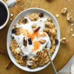 Top View of Carrot Cake Oats Recipe on Wooden Board