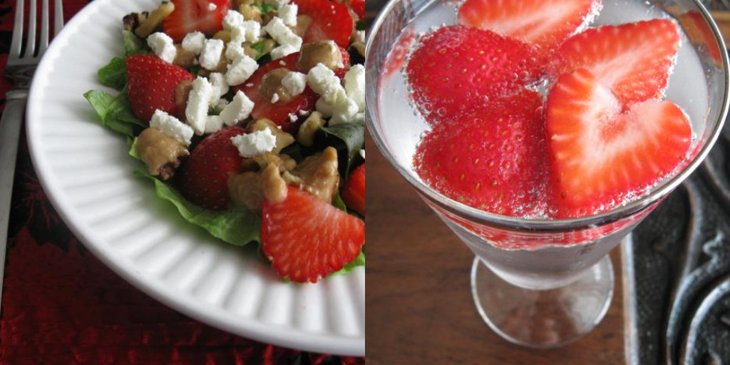 Valentine's Day Menu:  Strawberry Spritzers and Savory Strawberry Salad