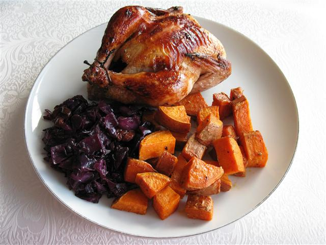Christmas Dinner for Two: Vanilla-Maple Glazed Cornish Hens, Spiced Yams, and Braised Red Cabbage with Cherries