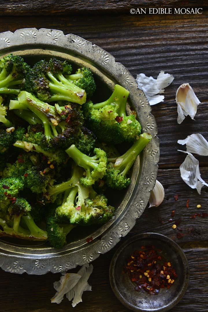 Close Up Overhead View of Italian Broccoli