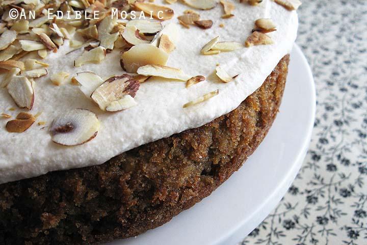 Parsnip Cake on White Cake Plate