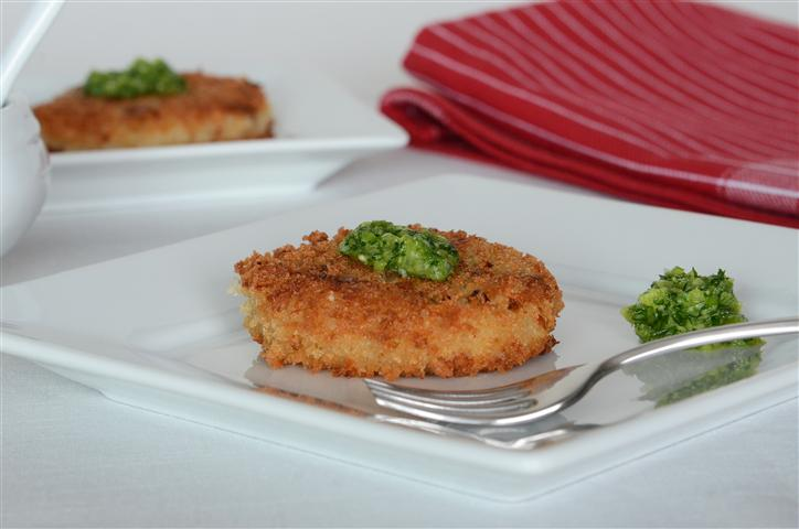 White Asparagus Risotto Cakes with Scallion Pistou