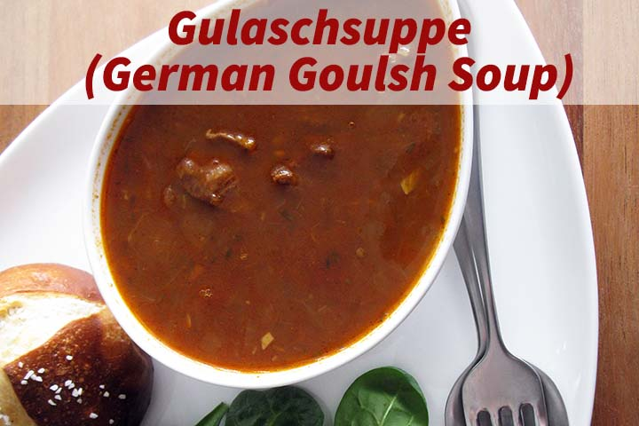 Top View of German Goulash Soup in Bowl