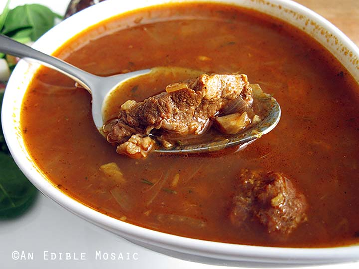 Spoonful of Gulaschsuppe (German Goulash Soup)