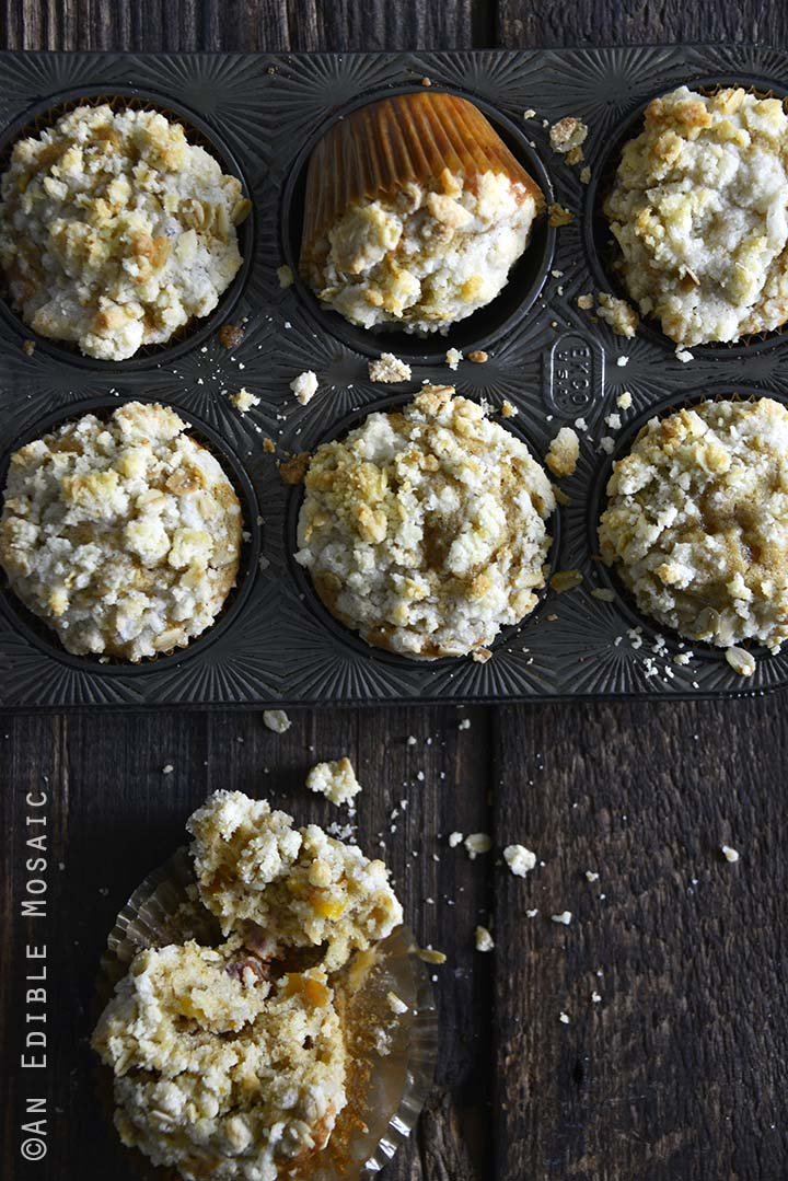 Peach Muffins in Baking Tray on Dark Wooden Table