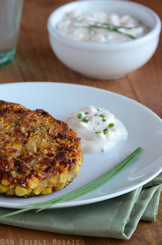 Quinoa Corn Patties with Cool and Creamy Onion Dip
