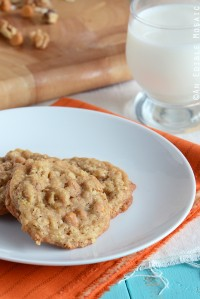 Butterscotch Oatmeal Cookies on White Plate on Orange Fabric
