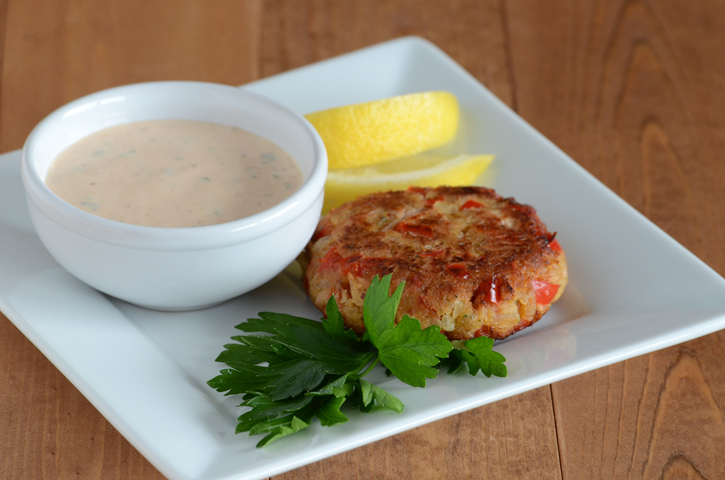 Tuna Cakes with Red Pepper & Quick Remoulade Sauce