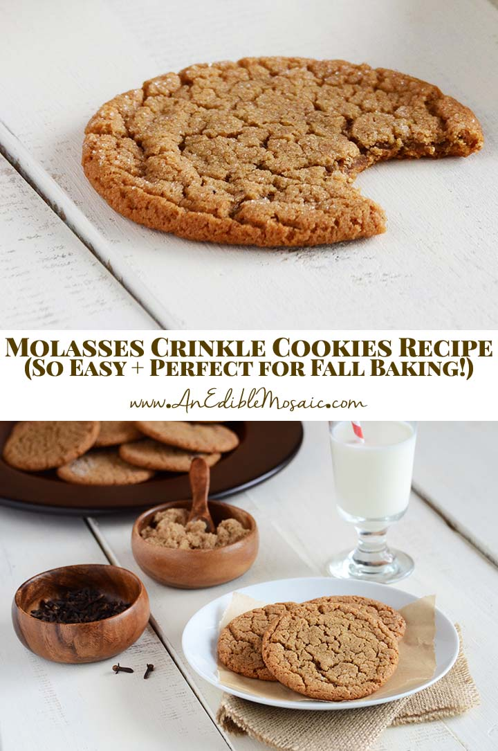 Molasses Crinkle Cookies Recipe (Chewy Molasses Cookies Recipe) Pin