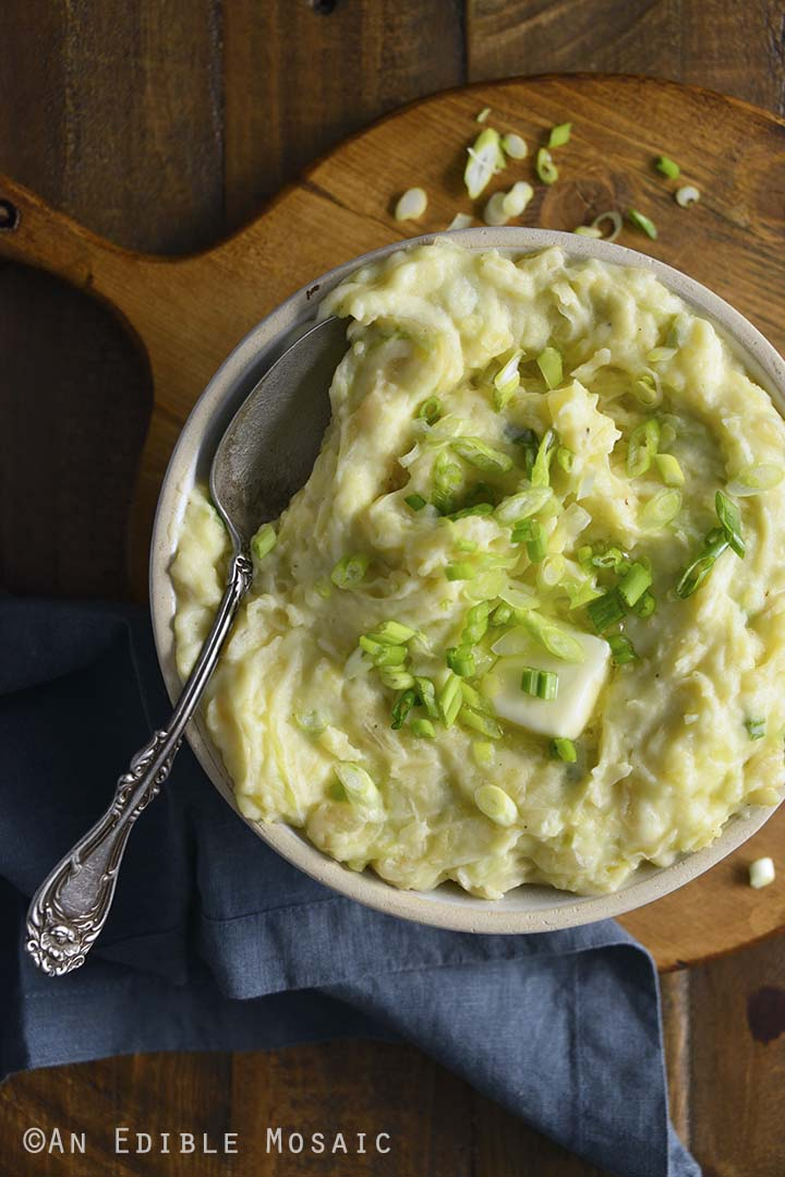 Colcannon Recipe with Vintage Spoon in White Bowl