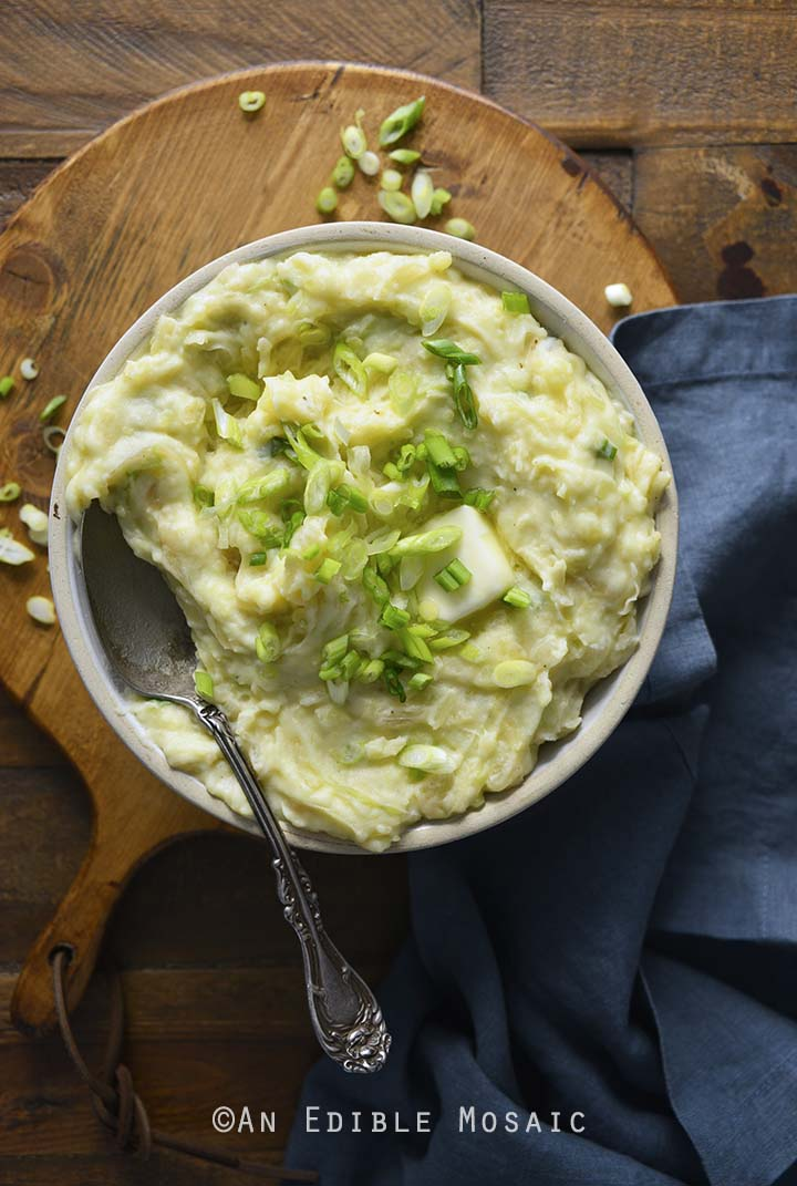 Irish Colcannon in Bowl on Wooden Table