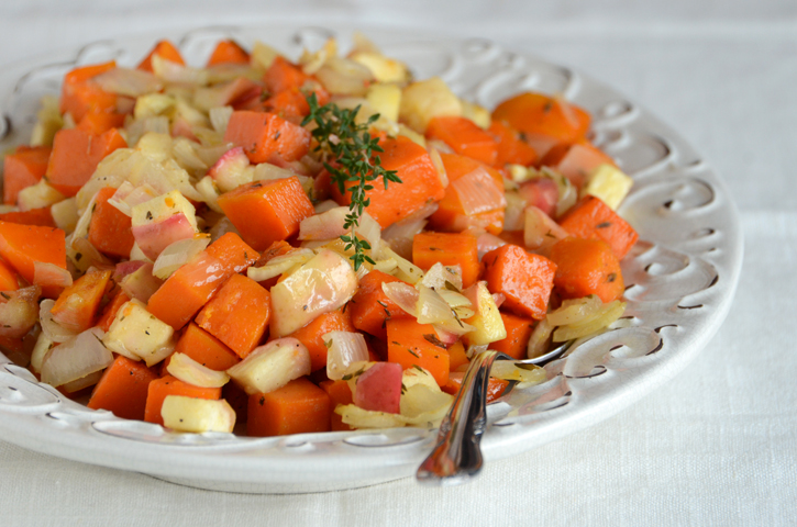 Roasted Butternut Squash with Apple, Onion, and Thyme
