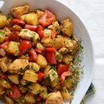 Top View of Turkey Hash Recipe in White Bowl