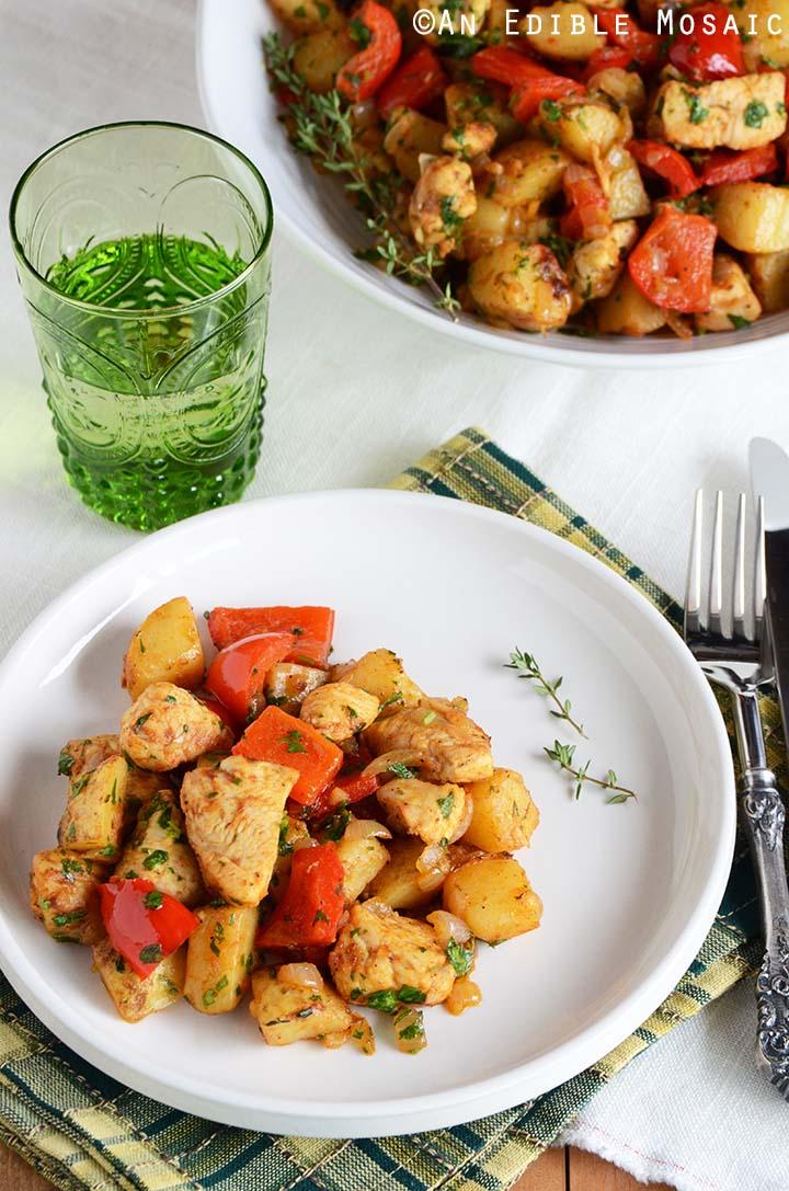 Turkey Vegetable Hash on White Plate on Table