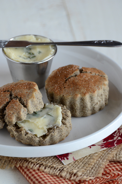 Maple-Walnut Buckwheat Scones with Honeyed Sage Butter
