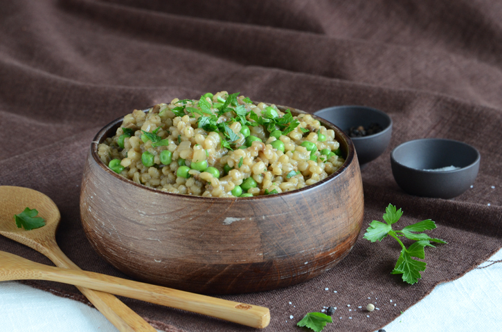 Pearl Barley Pilaf with Porcinis & Peas