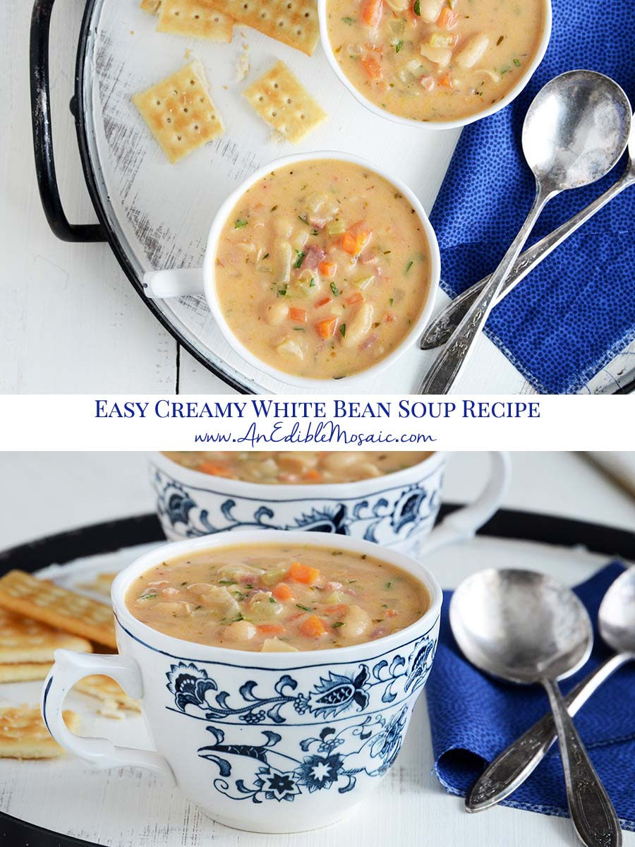 Easy Creamy White Bean Soup Recipe Pinnable Image