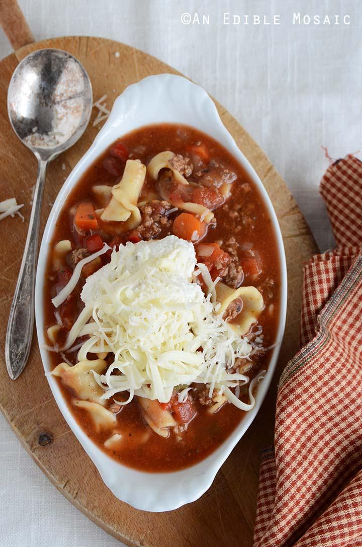 Overhead View of Lasagna Soup Recipe