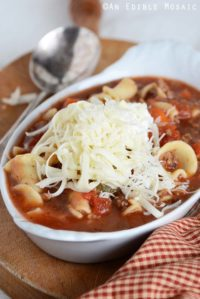 Close Up Front View of Lasagna Soup Recipe