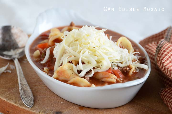 Front View of Lasagna Soup in White Dish