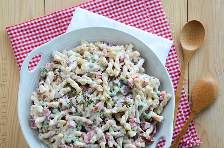 Creamy Pasta Salad with Bacon, Peas, & Bell Peppers 2