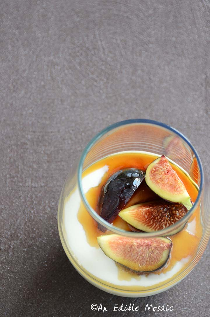 Yogurt Mousse with Honey and Fresh Figs Recipe on Sparkling Plum-Colored Background