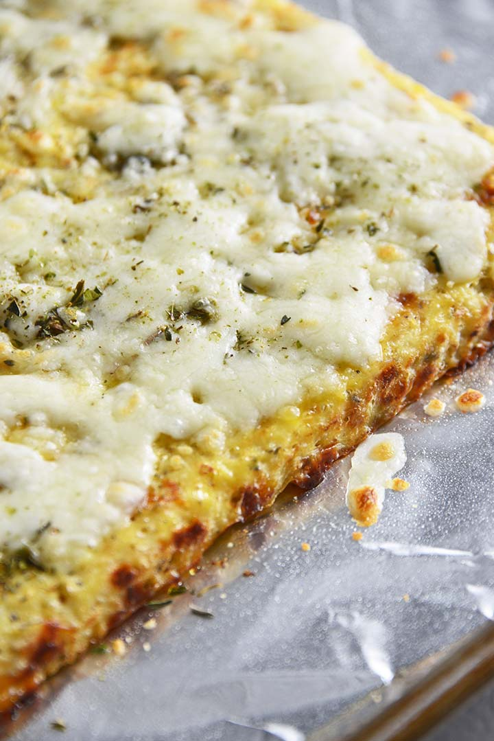 Cheesy Cauliflower Breadsticks Out of Oven