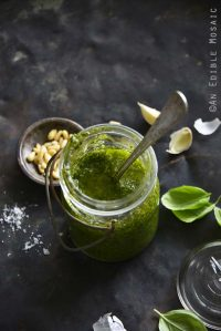 Easy Pesto Sauce Recipe in Vintage Glass Jar