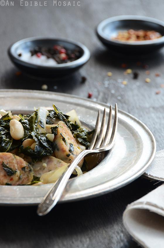 Sautéed Kale with Sausage and White Beans