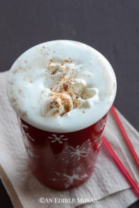 Gingerbread Latte with Homemade Gingerbread Syrup in Festive Red Holiday Mug
