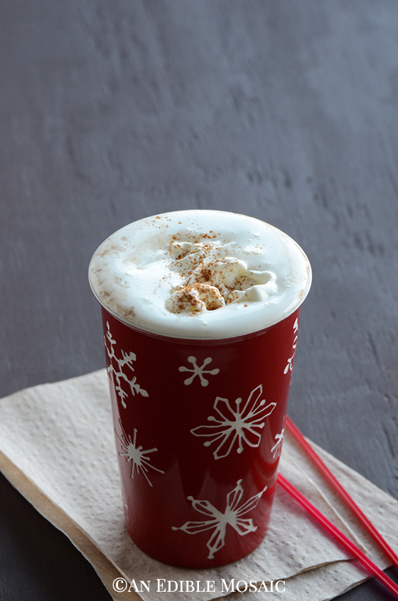 Front View of Gingerbread Latte with Homemade Gingerbread Syrup in Red Snowflake Mug