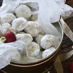 Snowball Cookies in Cookie Tin with Wax Paper