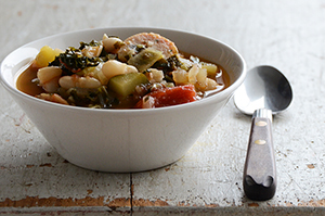 Vegetable Medley Stew with White Beans + Chicken Sausage