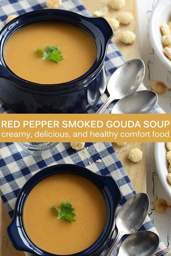 Red Pepper Smoked Gouda Soup Recipe Pin