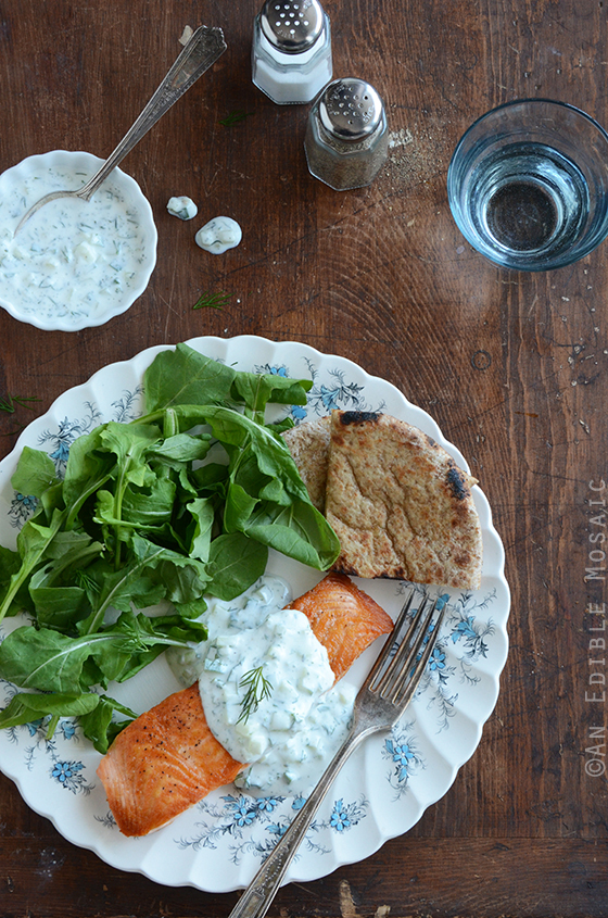 Seared Salmon with Tzatziki Sauce