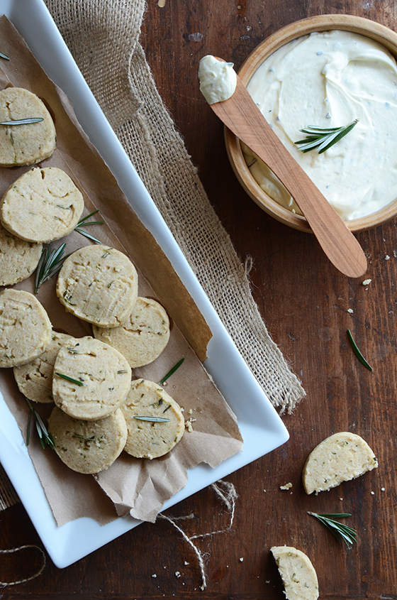 Savory Rosemary Shortbread Cookies + Creamy Whipped Feta with Rosemary