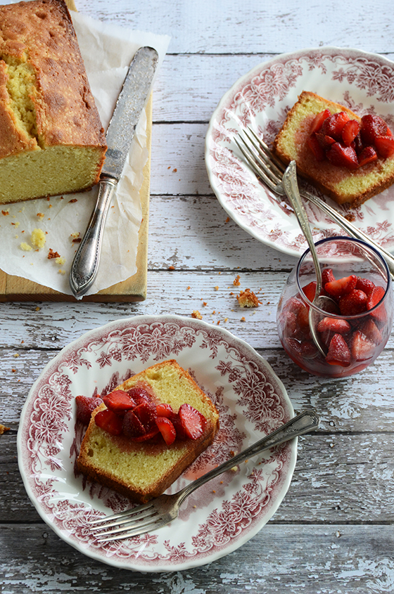 Vanilla-Almond Pound Cake with Easy Strawberry-Rose Sauce