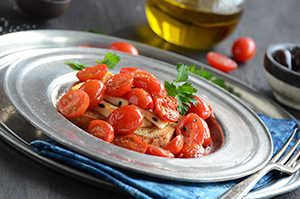 Fried Cheese with Warm Tomatoes