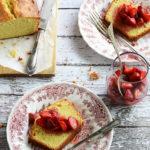 Vanilla Pound Cake Sliced on Two Flowered Plates
