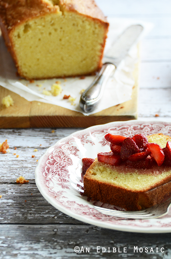 Front View of a Slice of Vanilla Pound Cake with Easy Strawberry Sauce