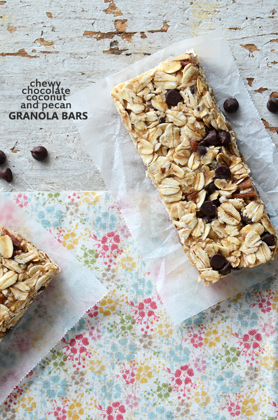 Chewy Chocolate, Coconut, and Pecan Granola Bars {No-Bake; Vegan; Gluten-Free}