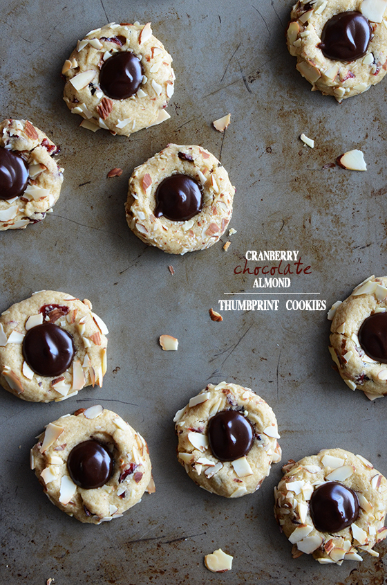 Cranberry Chocolate Almond Thumbprint Cookies